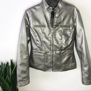 Metallic faux moto leather jacket